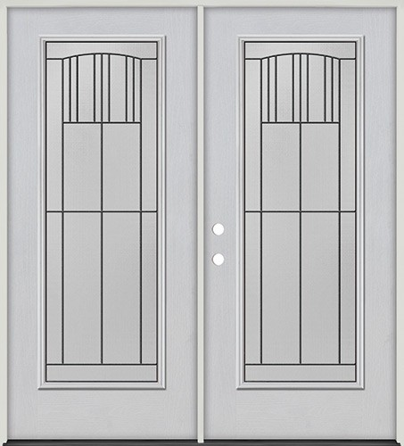 Full Lite Fiberglass Prehung Double Door Unit #4078