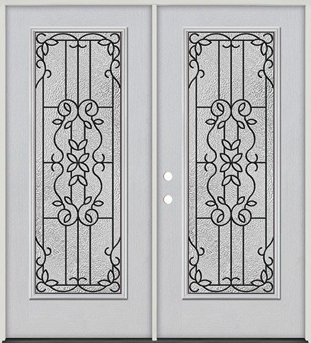 Full Lite Fiberglass Prehung Double Door Unit #4080