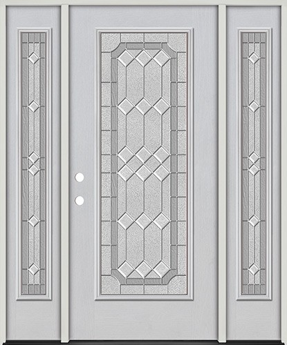 Full Lite Fiberglass Prehung Door Unit with Sidelites #4082