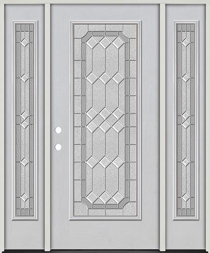 Full Lite Fiberglass Prehung Door Unit with Sidelites #4082