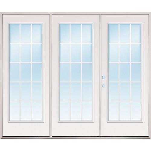 """8'0"""" Wide 15-Lite GBG Steel Patio Prehung Triple Door Unit"""