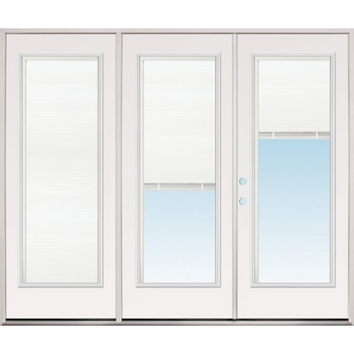 8/0 Wide Retro Miniblind Full Lite Steel Patio Prehung Triple Door Unit