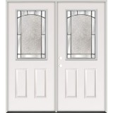 Half Lite Steel Prehung Double Door Unit #5013