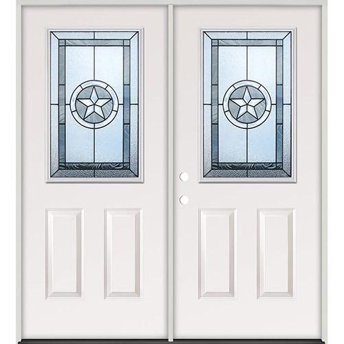 Half Lite Texas Star Steel Prehung Double Door Unit #5015