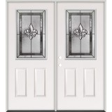 Half Lite Fleur-De-Lis Steel Prehung Double Door Unit #5016