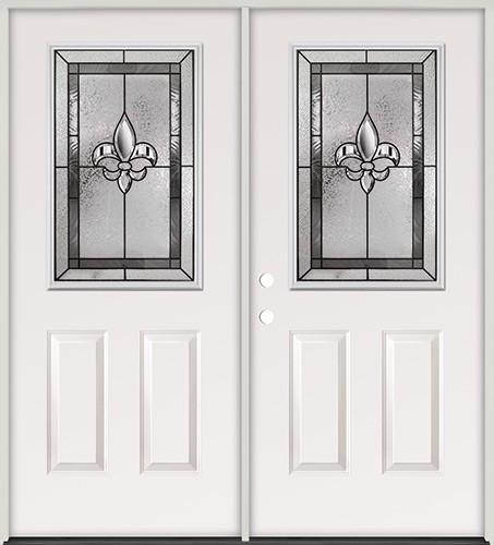 Half Lite Fleur-De-Lis Steel Prehung Double Door Unit #5016