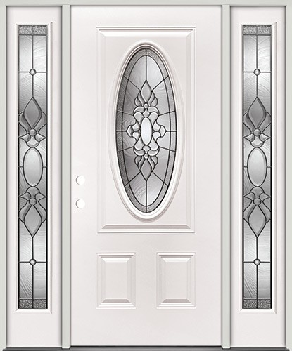 3/4 Oval Steel Prehung Door Unit with Sidelites #5028