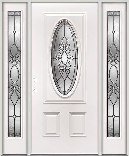 3/4 Oval Steel Prehung Door Unit with Sidelites #5028