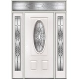 3/4 Oval Steel Prehung Door Unit with Transom #5028