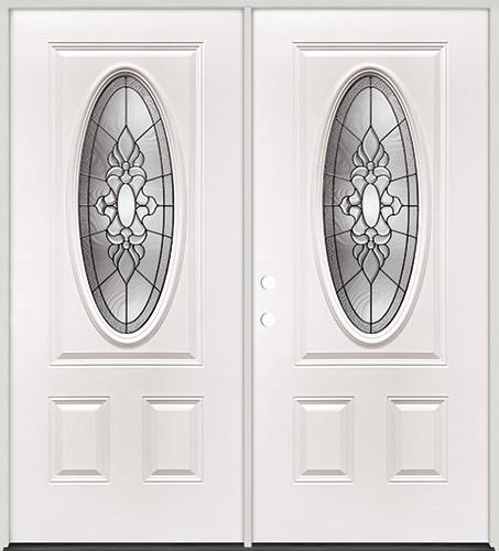 3/4 Oval Steel Prehung Double Door Unit #5028