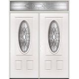 3/4 Oval Steel Prehung Double Door Unit with Transom #5028
