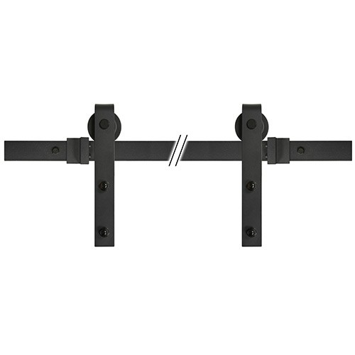 "72"" Sliding Barn Door Track and Hardware Kit - Black"