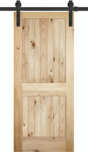 """7'0"""" Tall x 36"""" Wide 2-Panel V-Grooved Knotty Pine Barn Door Slab with 72"""" Black Hardware Kit"""