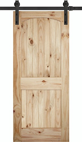 "7'0"" Tall x 36"" Wide 2-Panel Arch V-Grooved Knotty Pine Barn Door Slab"