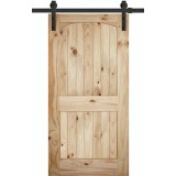 """7'0"""" Tall x 42"""" Wide 2-Panel Arch V-Grooved Knotty Pine Barn Door Slab"""