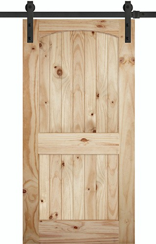 "7'0"" Tall x 42"" Wide 2-Panel Arch V-Grooved Knotty Pine Barn Door Slab with 84"" Black Hardware Kit"