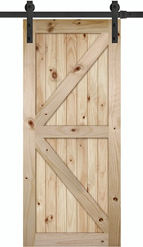 "7'0"" Tall x 36"" Wide K-Bar V-Grooved Knotty Pine Barn Door Slab with 72"" Black Hardware Kit"