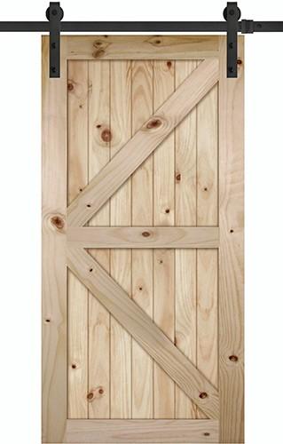 "7'0"" Tall x 42"" Wide K-Bar V-Grooved Knotty Pine Barn Door Slab with 84"" Black Hardware Kit"