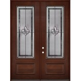 "Fleur-de-lis 8'0"" Tall 3/4 Lite Pre-finished Mahogany Wood Double Door Unit #2036"