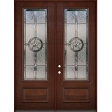 "Texas Star 8'0"" Tall 3/4 Lite Pre-finished Mahogany Wood Double Door Unit #2038"