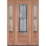 "Fleur-de-lis 8'0"" Tall 3/4 Lite Mahogany Wood Door Unit with Sidelites #3036"
