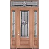 "Fleur-de-lis 8'0"" Tall 3/4 Lite Mahogany Wood Door Unit with Transom #3036"