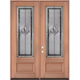 "Fleur-de-lis 8'0"" Tall 3/4 Lite Mahogany Wood Double Door Unit #3036"