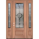 "Texas Star 8'0"" Tall 3/4 Lite Mahogany Wood Door Unit with Sidelites #3038"