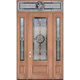 "Texas Star 8'0"" Tall 3/4 Lite Mahogany Wood Door Unit with Transom #3038"