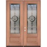 "Texas Star 8'0"" Tall 3/4 Lite Mahogany Wood Double Door Unit #3038"
