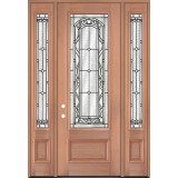 "8'0"" Tall 3/4 Lite Mahogany Wood Door Unit with Sidelites #3042"