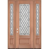 "8'0"" Tall Diamond 3/4 Lite Mahogany Wood Door Unit with Sidelites #3043"