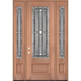 "8'0"" Tall 3/4 Lite Mahogany Wood Door Unit with Sidelites #3044"