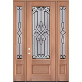 "8'0"" Tall 3/4 Lite Mahogany Wood Door Unit with Sidelites #3045"