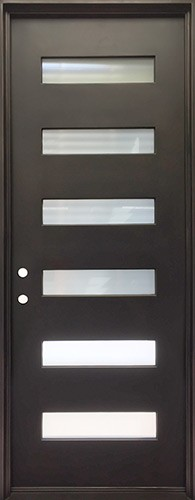 "40"" x 97"" Modern Prehung Iron Door Unit"