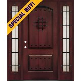Special Buy - Model A: Rustic Pre-finished Fiberglass Door Unit with Sidelites