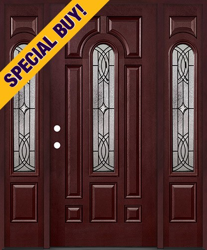 Special Buy - Model B: Center Arch Pre-finished Fiberglass Door Unit with Sidelites