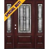 Special Buy - Model E: 3/4 Lite Pre-finished Fiberglass Door Unit with Sidelites