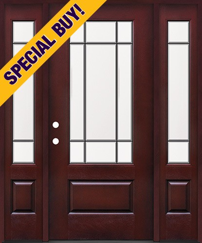 Special Buy - Model F: 9-Lite Pre-finished Fiberglass Door Unit with Sidelites