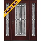 Special Buy - Model G: Full Lite Pre-finished Fiberglass Door Unit with Sidelites