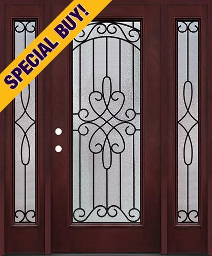 Special Buy - Model H: Full Lite Pre-finished Fiberglass Door Unit with Sidelites