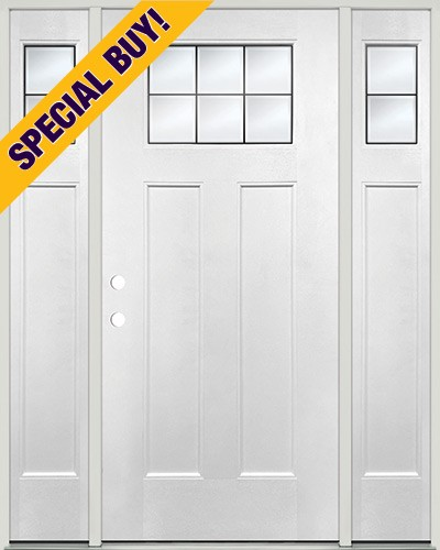 Special Buy - Model J: Beveled Craftsman Fiberglass Door Unit with Sidelites