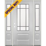 Special Buy - Model M: Beveled 9-Lite Fiberglass Door Unit with Sidelites