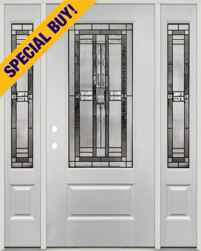 Special Buy - Model N: 3/4 Lite Fiberglass Door Unit with Sidelites