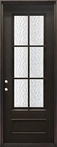 """40"""" x 97"""" Tiffany Square Top Prehung Iron Door Unit"""