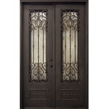 "62"" x 97"" Victorian Prehung Iron Double Door Unit"