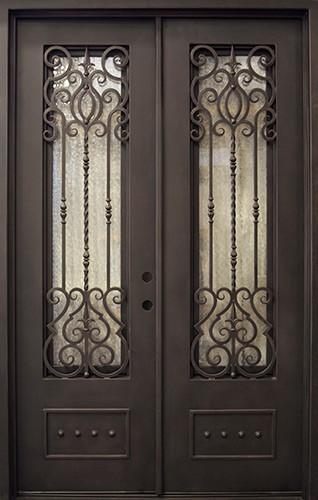 """62"""" x 97"""" Victorian Prehung Iron Double Door Unit"""