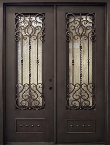 """74"""" x 97"""" Victorian Prehung Iron Double Door Unit"""