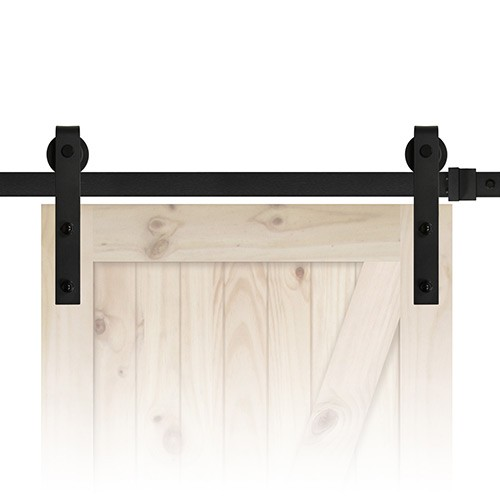 "84"" Sliding Barn Door Track and Hardware Kit - Black"