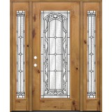 Full Lite Knotty Alder Prehung Wood Door Unit with Sidelites #292
